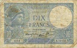 10 Francs MINERVE modifié FRANCE  1939 F.07.07 B+