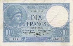 10 Francs MINERVE modifié FRANCE  1939 F.07.13 TTB