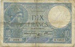 10 Francs MINERVE modifié FRANCE  1939 F.07.13 B+