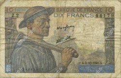 10 Francs MINEUR FRANCE  1941 F.08.02 B