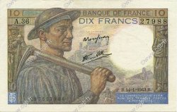 10 Francs MINEUR FRANCE  1943 F.08.07 SPL