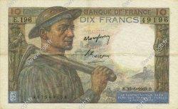 10 Francs MINEUR FRANCE  1949 F.08.22 TTB à SUP