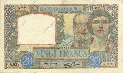 20 Francs SCIENCE ET TRAVAIL FRANCE  1940 F.12.06 pr.SUP