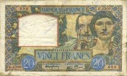 20 Francs SCIENCE ET TRAVAIL FRANCE  1941 F.12.13 TTB