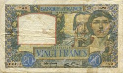 20 Francs SCIENCE ET TRAVAIL FRANCE  1941 F.12.13 pr.TTB