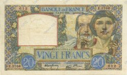 20 Francs SCIENCE ET TRAVAIL FRANCE  1941 F.12.14 TTB+