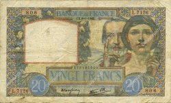 20 Francs SCIENCE ET TRAVAIL FRANCE  1942 F.12.21 TB+