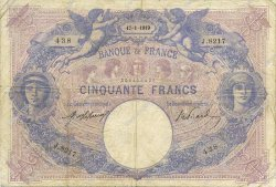 50 Francs BLEU ET ROSE FRANCE  1919 F.14.32 TB