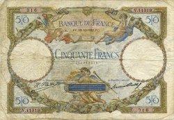 50 Francs LUC OLIVIER MERSON type modifié FRANCE  1932 F.16.03 B+
