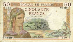 50 Francs CÉRÈS modifié FRANCE  1938 F.18.13 TB+