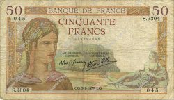 50 Francs CÉRÈS modifié FRANCE  1939 F.18.19 B