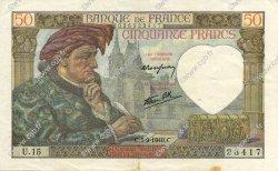 50 Francs JACQUES CŒUR FRANCE  1940 F.19.02 TTB à SUP
