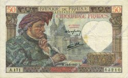 50 Francs JACQUES CŒUR FRANCE  1942 F.19.20 TTB