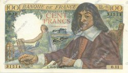 100 Francs DESCARTES FRANCE  1942 F.27.01 SUP+
