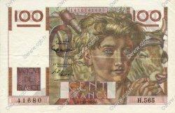 100 Francs JEUNE PAYSAN filigrane inversé FRANCE  1953 F.28bis.03 SUP