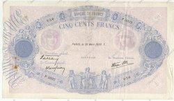 500 Francs BLEU ET ROSE modifié FRANCE  1939 F.31.29 TB+