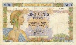 500 Francs LA PAIX FRANCE  1940 F.32.05 B+