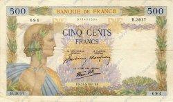 500 Francs LA PAIX FRANCE  1941 F.32.17 TTB