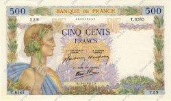 500 Francs LA PAIX FRANCE  1942 F.32.39 SUP à SPL