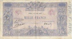 1000 Francs BLEU ET ROSE FRANCE  1923 F.36.39 B+