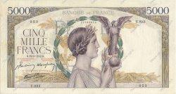 5000 Francs VICTOIRE Impression à plat FRANCE  1942 F.46.35 TTB