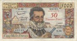 50 NF sur 5000 Francs HENRI IV FRANCE  1959 F.54.02 pr.TTB