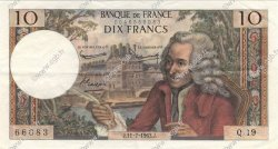 10 Francs VOLTAIRE FRANCE  1963 F.62.03 SUP+