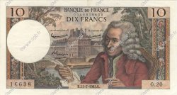 10 Francs VOLTAIRE FRANCE  1963 F.62.03 SUP+