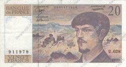 20 Francs DEBUSSY à fil de sécurité FRANCE  1990 F.66bis.01 TTB+