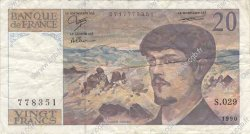 20 Francs DEBUSSY à fil de sécurité FRANCE  1990 F.66bis.01 TTB
