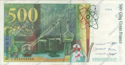 500 Francs PIERRE ET MARIE CURIE symbole en haut FRANCE  1994 F.76bis.01 SUP