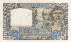 20 Francs SCIENCE ET TRAVAIL FRANCE  1942 F.12.21 SPL+
