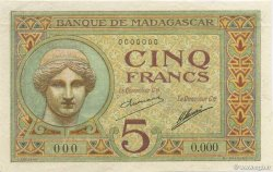 5 Francs MADAGASCAR  1926 P.35s SPL
