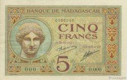 5 Francs MADAGASCAR  1926 K.801as pr.NEUF