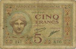 5 Francs MADAGASCAR  1926 K.801b pr.TB