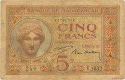 5 Francs MADAGASCAR  1937 P.35 TB