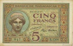 5 Francs MADAGASCAR  1937 K.802b SPL