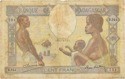 100 Francs MADAGASCAR  1937 P.40 B+ à TB