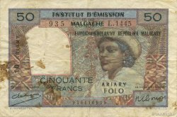 50 Francs - 10 Ariary MADAGASCAR  1961 P.51a TB+