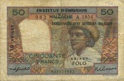 50 Francs - 10 Ariary MADAGASCAR  1961 P.51b pr.TB