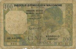 100 Francs - 20 Ariary MADAGASCAR  1961 K.836b B