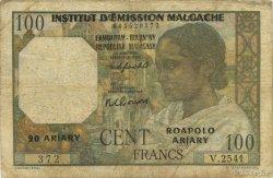 100 Francs - 20 Ariary MADAGASCAR  1961 K.836b TB