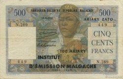 500 Francs - 100 Ariary MADAGASCAR  1961 K.837b TTB
