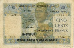 500 Francs - 100 Ariary MADAGASCAR  1961 P.53 B+