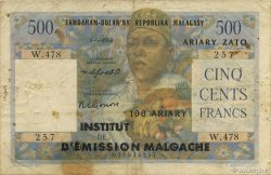 500 Francs - 100 Ariary MADAGASCAR  1961 K.838c pr.TB