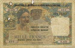 1000 Francs - 500 Ariary MADAGASCAR  1961 P.54 B