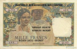 1000 Francs - 500 Ariary MADAGASCAR  1961 P.54 SUP à SPL