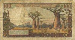 100 Francs - 20 Ariary MADAGASCAR  1964 P.57a B+