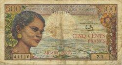 500 Francs - 100 Ariary MADAGASCAR  1964 P.58 TB