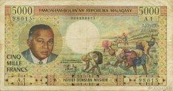 5000 Francs - 1000 Ariary MADAGASCAR  1966 P.60a TB
